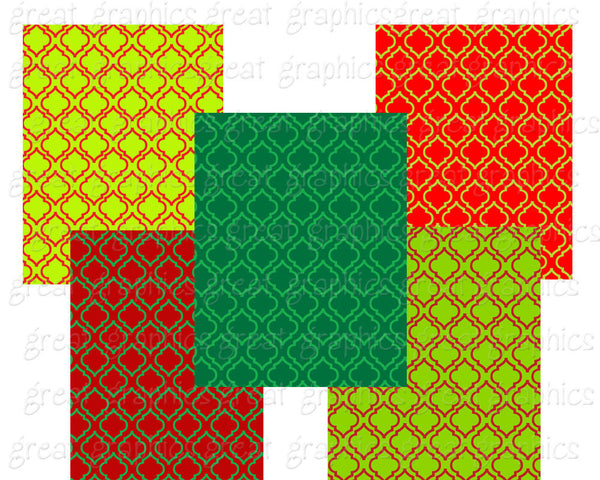 Christmas Moroccan Pattern Digital Paper Printable Background Christmas Paper Red and Green Moroccan Pattern Paper - Instant Download
