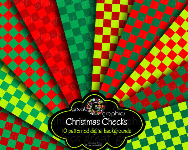 Christmas Check Digital Paper Checkerboard Background Printable Paper Christmas Party Paper Red Green Digital - Instant Download