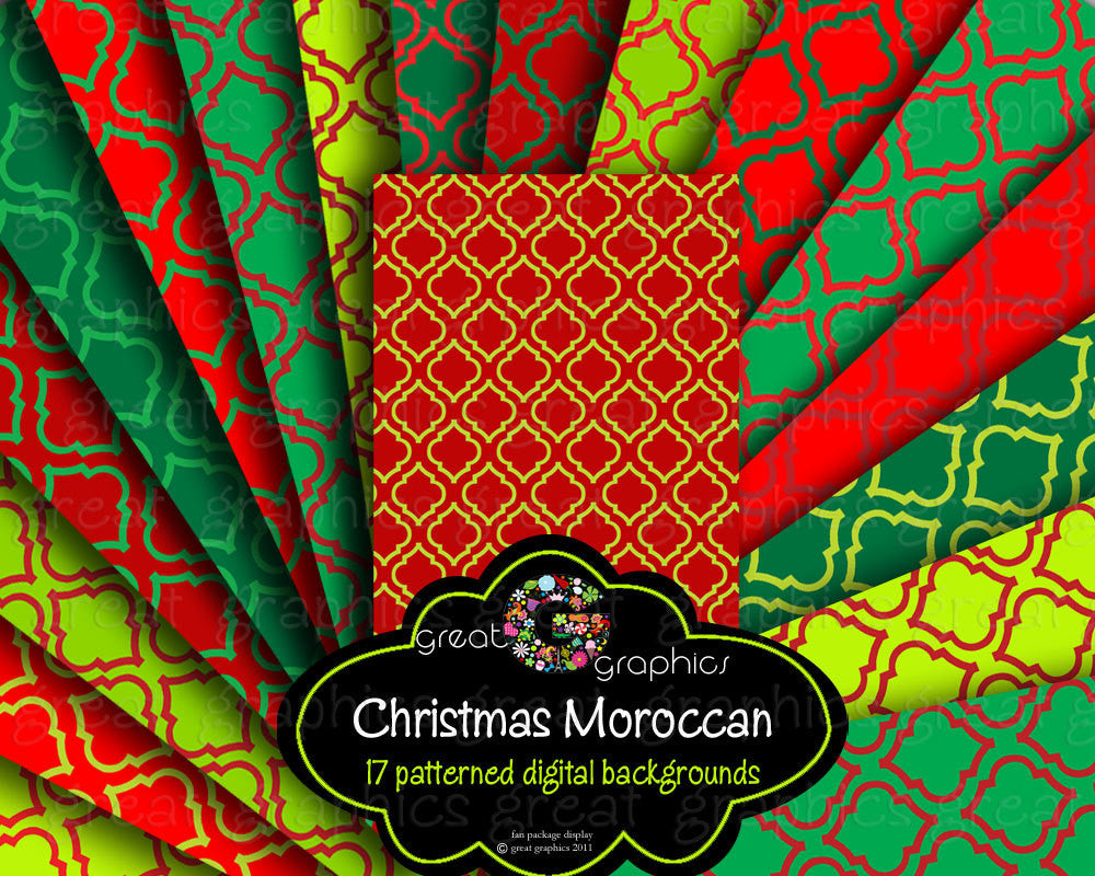 christmas moroccan pattern digital paper printable background christmas paper red and green moroccan pattern paper