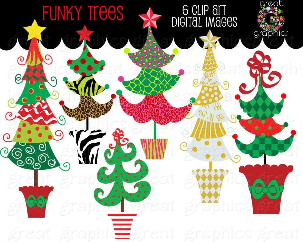 Christmas Tree Clipart Christmas Clip Art Digital Christmas Funky Christmas Tree Clip Art Printable Christmas Tree - Instant Download