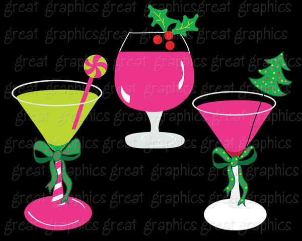 Christmas Clip Art Christmas Digital Clipart Margarita Clipart Preppy Christmas Clip Art Martini Invitation Clipart - Instant Download