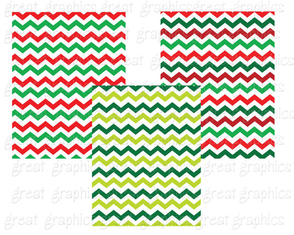 Christmas Chevron Paper Christmas Digital Chevron Paper Printable Chevron Paper Christmas Red and Green - Instant Download