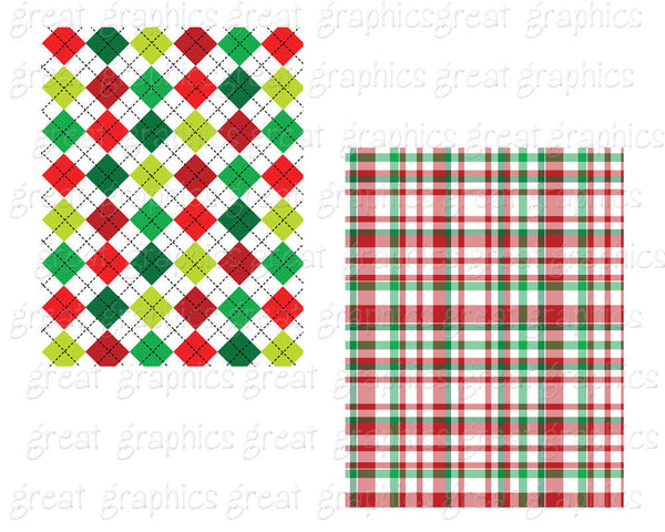 Christmas Plaid Paper Printable Christmas Digital Paper Red Green Plaid Printable Invitation Paper - Instant Download