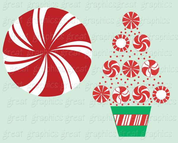 Christmas Candy Clip Art Christmas Clipart Peppermint Candy Clip Art Printable Invitation Party Digital Clipart - Instant Download