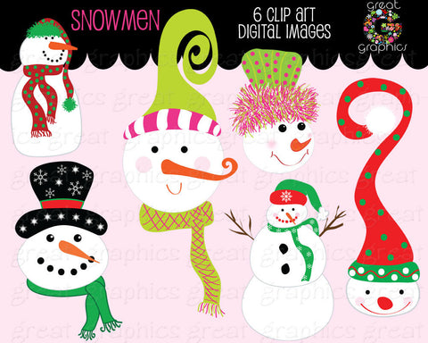 Snowman Clipart Whimsical Christmas Snowman Clip Art Snowman Digital Clip Art Invitation Clipart - Instant Download