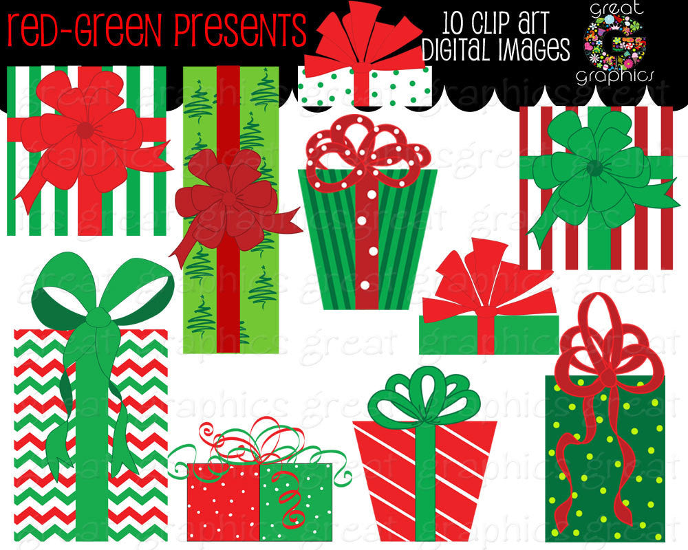 Christmas Present Clip Art Red and Green Christmas Present Printable Clipart for Holiday Photo Cards and Invitations - Instant Download