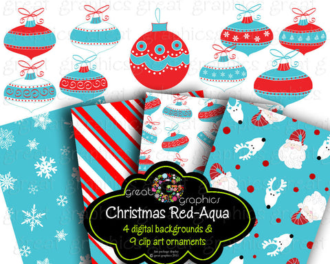 Christmas Clip Art Christmas backgrounds, printable red aqua christmas digital clip art and backgrounds red aqua Christmas ornaments