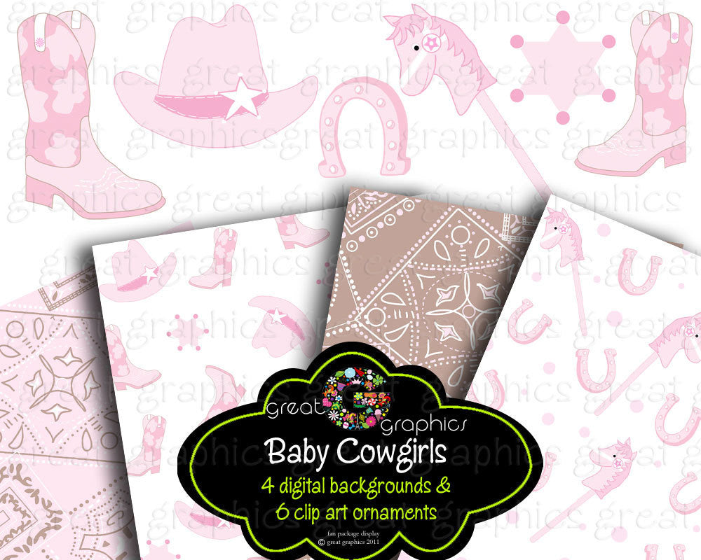 Pink Cowgirl Party Digital Paper Clip Art Cowgirl Clipart Pink Cowgirl Printable Clipart Party Paper - Instant Download