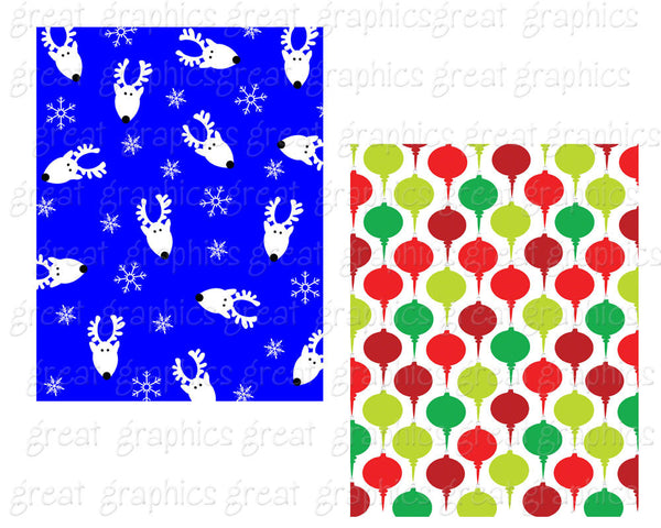 Christmas Digital Paper Printable Christmas Paper Holiday Digital Paper Christmas Trees Cocktails Santa Stockings - Instant Download