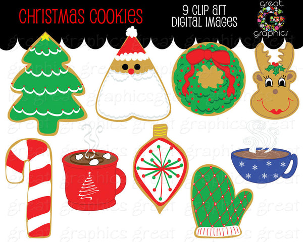 Christmas Cookie Clip Art Digital Clipart Printable Christmas Party Cookie Party Clipart Hot Chocolate - Instant Download