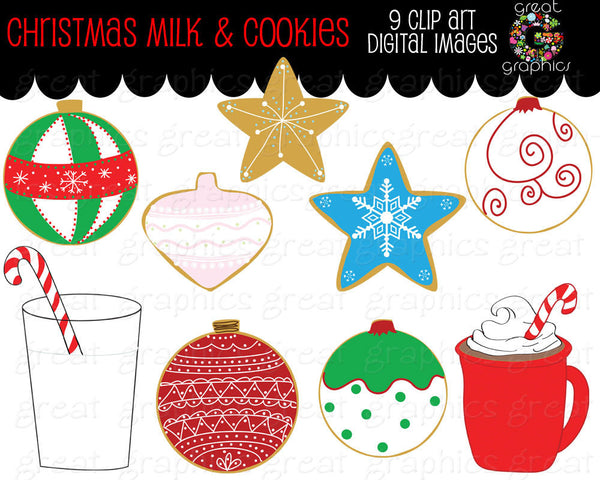 Christmas Clipart Christmas Cookies and Milk Printable Christmas Cookies Clip Art Digital Christmas Clipart - Instant Download