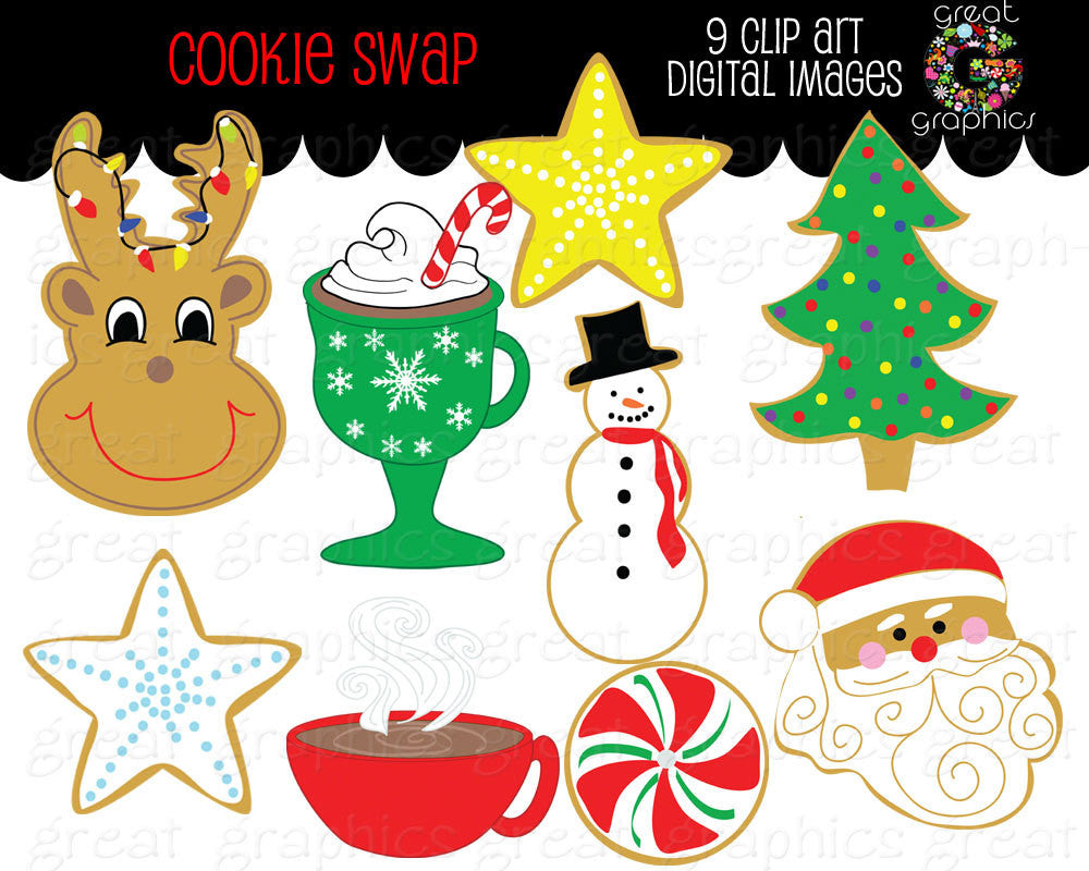 Christmas Party Images Clip Art.Christmas Clip Art Christmas Cookie Swap Clipart Printable Christmas Digital Clip Art Christmas Party Instant Download