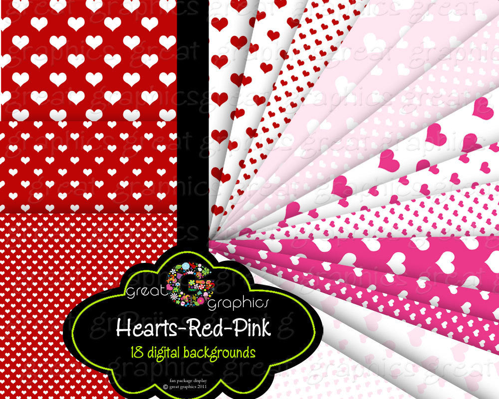 Heart Digital Paper Digital Heart Paper Printable Heart Background Paper Party Paper Valentine - Instant Download