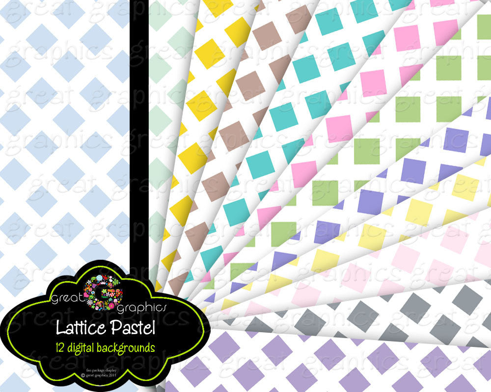 Pastel Lattice Digital Paper Lattice Pattern Printable Paper Baby Shower Paper Digital Invitation Paper - Instant Download