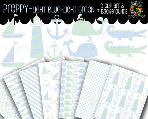 Preppy Baby Boy Clip Art Preppy Paper Printable Baby Shower Paper Baby Blue and Green - Instant Download