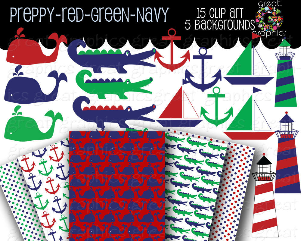 Preppy Clip Art Preppy Paper Preppy Digital Paper Preppy Background Preppy Alligator Preppy Whale Navy Red Green - Instant Download