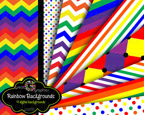 Rainbow Paper Rainbow Party Digital Paper Printable Rainbow Party Paper Rainbow Invitation Paper - Instant Download