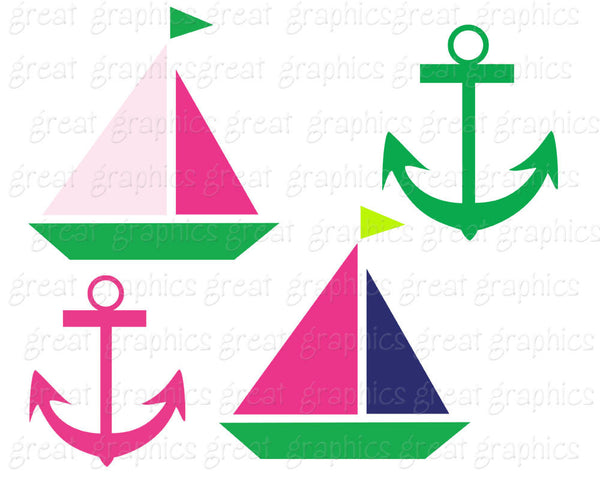 Preppy Digital Paper Preppy Pink and Green Clip Art Preppy Party Paper Alligator Whale Sailboat - Instant Download