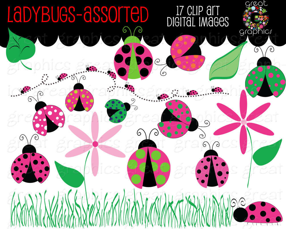 Ladybug Clipart Pink Ladybug Clipart Ladybug Clip Art Ladybug Paper Kids Party Digital Invitation Clipart - Instant Download