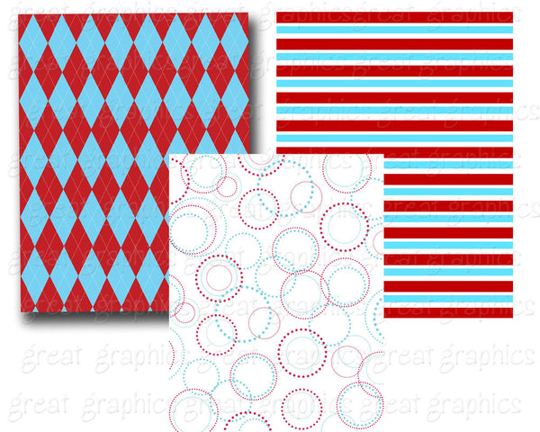 Red Blue Digital Paper Kids Birthday Party Digital Paper Red Aqua Party Paper Printable Digital Paper Kids Party Paper - Instant Download