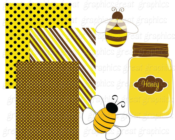 Bee Clip Art Bumble Bee Clipart Digital Bee Bee Digital Paper Honey Bee Clip Art Honeycomb Paper Kids Party Paper - Instant Download