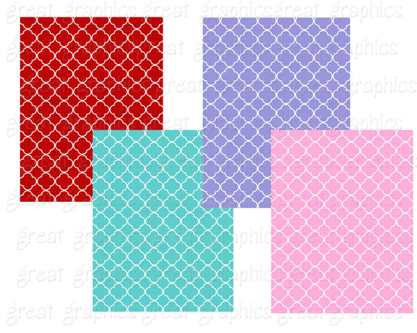 Quatrefoil Digital Paper Patterned Party Paper Invitation Paper Printable Background Invitation Paper - Instant Download