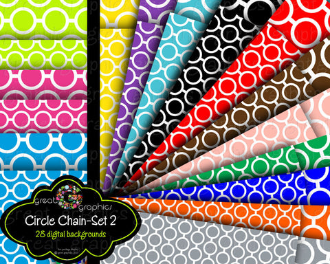 Circle Chain Digital Background-set 2, Pattern Digital Paper, Chain Pattern Printable Backgrounds for invitations, weddings