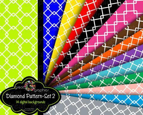 Digital Paper Printable Pattern Primary Color Background Paper Printable Paper Diamond Paper - Instant Download