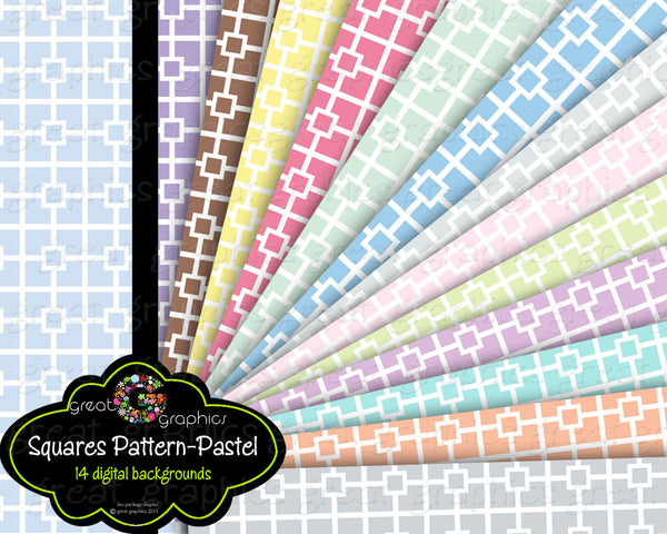 Printable Paper Square Pattern Digital Paper Pastel Printable Invitation Paper Baby Shower Paper - Instant Download