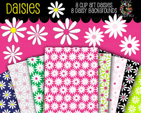 Daisy Digital Paper Flower Paper Daisy Digital Clip Art Printable Clipart Flower Party Invitation Clip Art - Instant Download