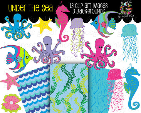 Under the Sea Party Clipart Under the Sea Printable Party Digital Paper Seahorse Clip Art Fish Clip Art - Instant Download