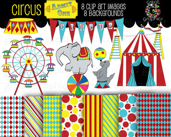 Circus Clipart Circus Clip Art  Digital Circus Paper Circus Digital Paper Circus Party Instant Download