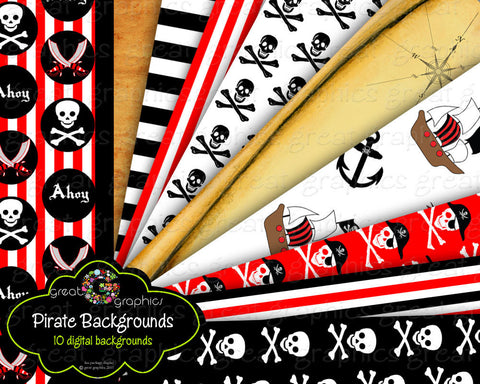 Pirate Paper Pirate Party Paper Pirate Digital Paper Pirate Printable Treasure Map Pirate Ship Instant Download