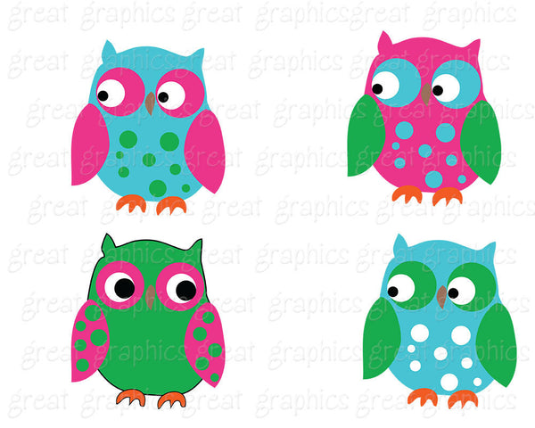 Preppy Owl Clip Art Owl Digital Paper Owl Digital Clipart Digital Paper Pink and Green Party Paper - Instant Download