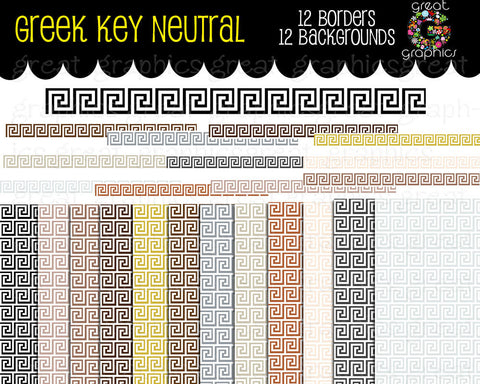 Greek Key Digital Clip Art Greek Key Border Digital Paper Printable Greek Key Paper Greek Key Clipart - Instant Download