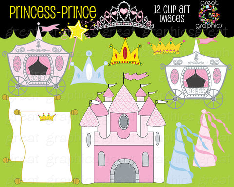 Princess and Prince Clipart Princess Clip Art Princess Digital Clip Art Princess Crown clipart Princess Party Instant Download