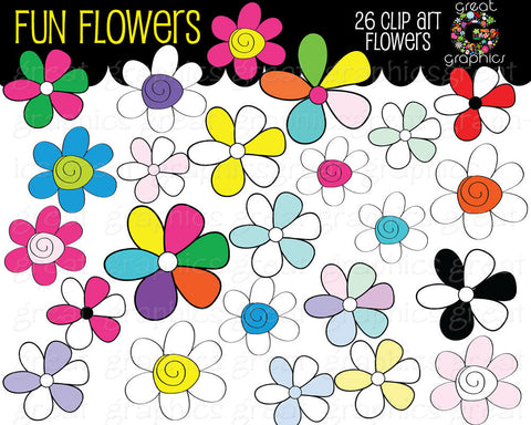 Clip Art Flower, Digital Flower Clipart, Flower Digital Clip Art, Printable Clip Art, Party Clipart, Instant Download