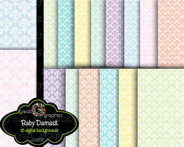 Baby Digital Paper Baby Damask Paper Printable Baby Shower Party Paper Digital Invitation Paper Pastel Paper - Instant Download