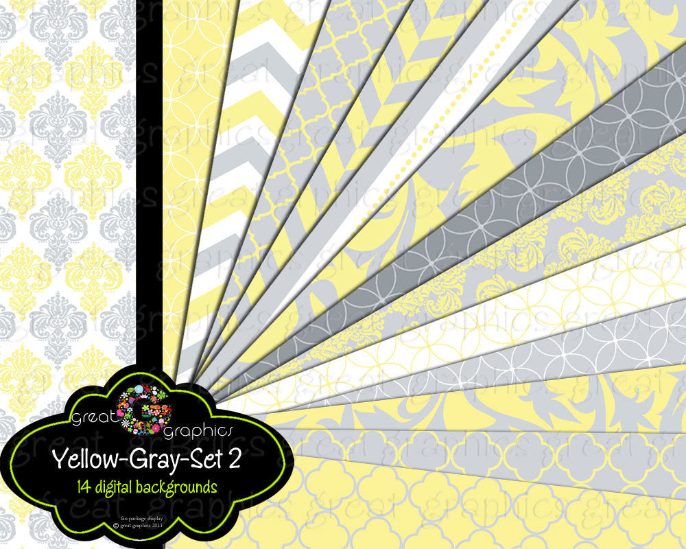 Yellow and Gray Paper Digital Paper Wedding Paper Baby Shower Paper Gray and Yellow Party Paper Instant Download