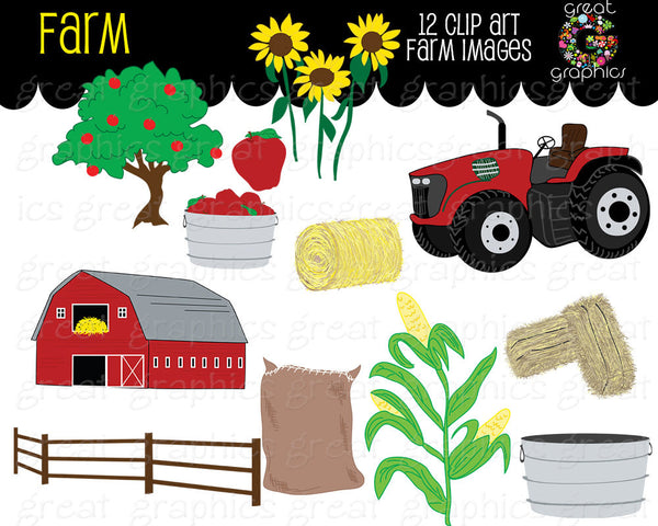 Farm Clipart Fall Festival Apple Digital Farm Clip Art Red Tractor Clipart Printable Sunflower Red Barn Digital Clipart - Instant Download