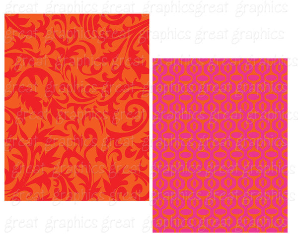 Pink Digital Paper Orange Red Pattern Paper Background Paper Printable Paper Digital Paper Background Pattern - Instant Download