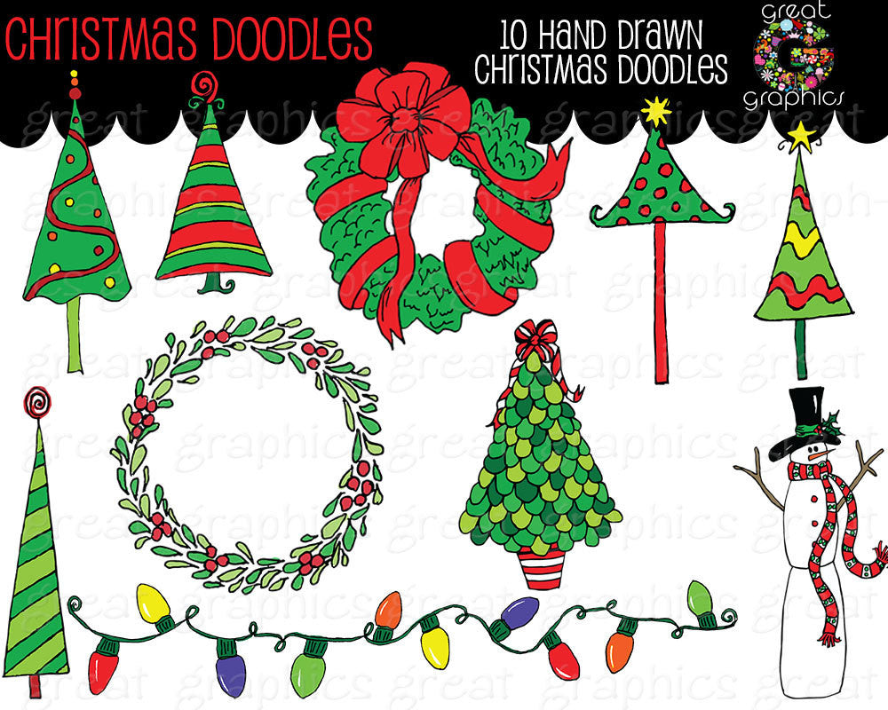 Christmas Doodle Clip Art, Christmas Tree Clip Art, Christmas Wreath Clip  art, Holiday clipart, Invitation Clip Art