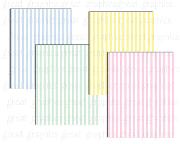 Stripe Paper Pastel Digital Paper Digital Paper Stripes Striped Paper Printable Baby Shower Paper - Instant Download