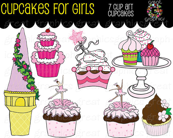 Cupcake Clipart Digital Clip Art Princess Party Cupcake Ballerina Cupcake Rapunzel Cupcake Clip Art  - Instant Download