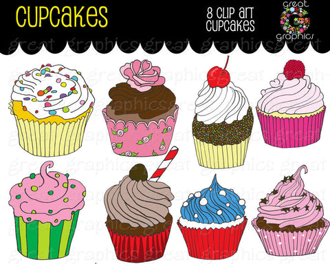 Birthday Party Cupcake Clipart Printable Birthday Party Cupcakes Digital Clip Art Cupcake Digital Clpart - Instant Download