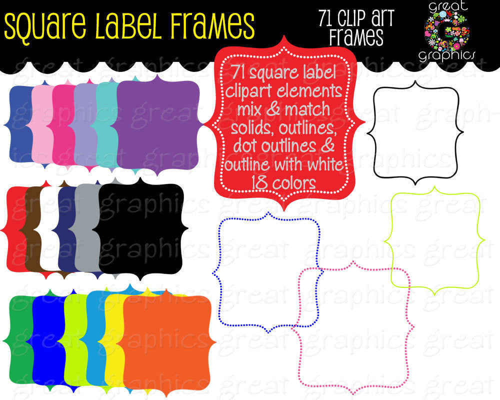 Label Frame Digital Clipart Frame Clip Art Printable Dot Frame Square Clipart Digital Frame Scrapbook Clip Art - Instant Download