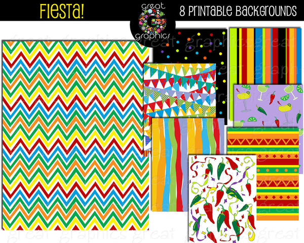 Fiesta Paper Fiesta Party Digital Paper Cinco De Mayo Party Paper Fiesta Printable Instant Download