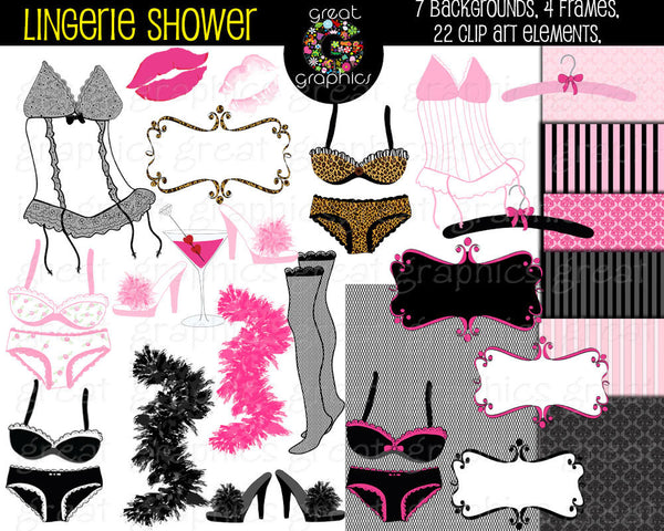 Lingerie Shower Printables Bridal Shower Clipart Bridal Shower Printable Bridal Shower Clip Art - Instant Download