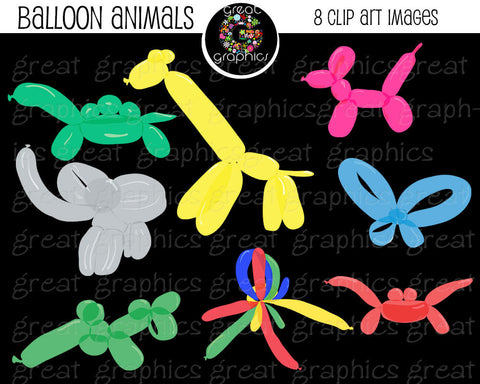 Balloon Clip Art Printable Birthday Party Clipart Balloon Animal Clip Art Digital Clip Art Birthday, Instant Download