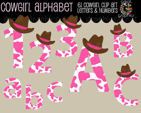Digital Alphabet Clipart Cowgirl Alphabet Letters Digital Numbers Printable Alphabet Letters Alphabet Digital Letters - Instant Download